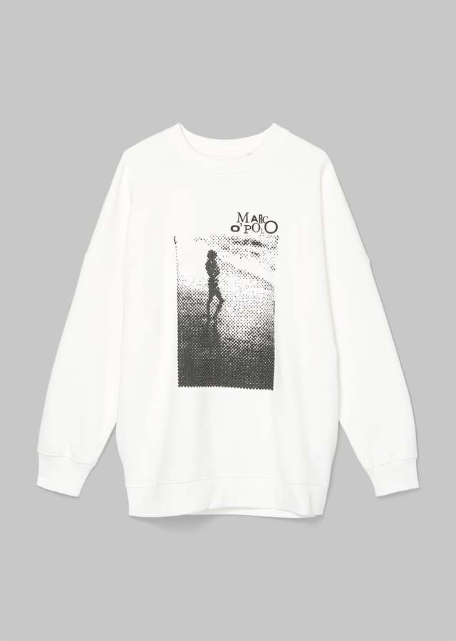 Print Sweatshirt Organic Cotton paper white