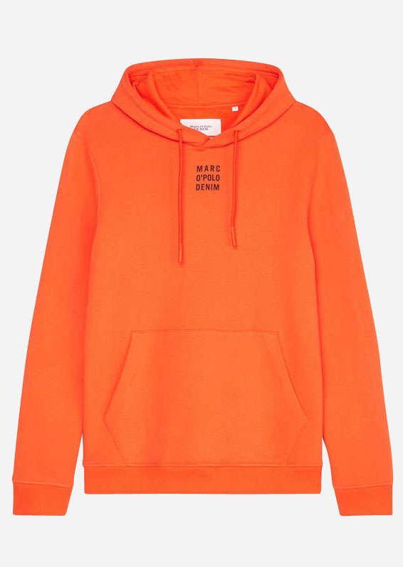 Hoodie mit Logo aus Organic Cotton, tiger orange