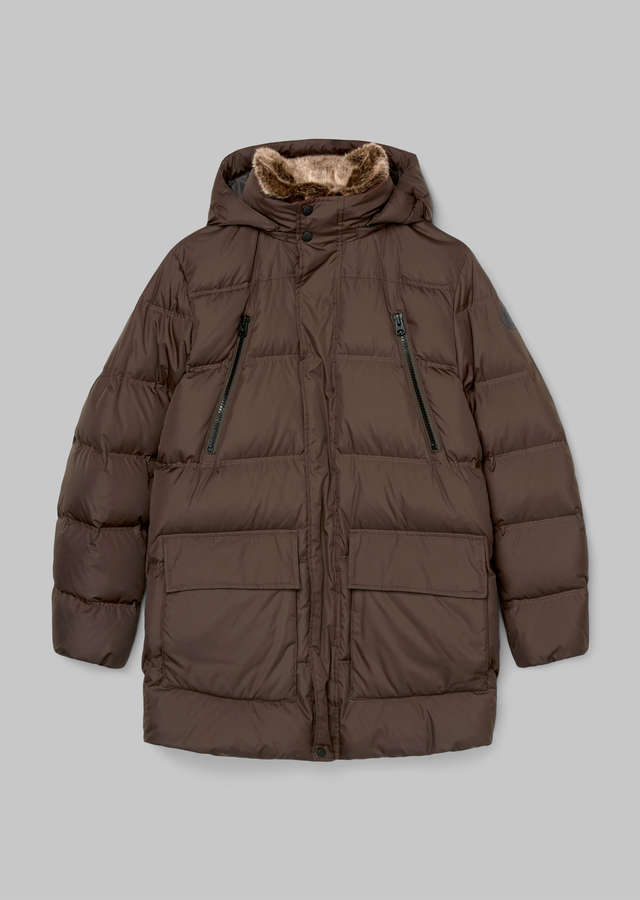 Wasserabweisende Fake-Fur Daunenjacke chocolate brown