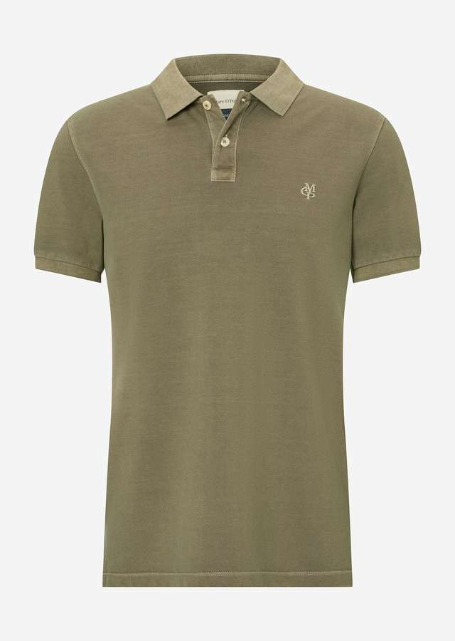 Kurzarm Poloshirt Organic Cotton dried herb