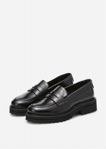Kalbsleder Plateau-Loafer black