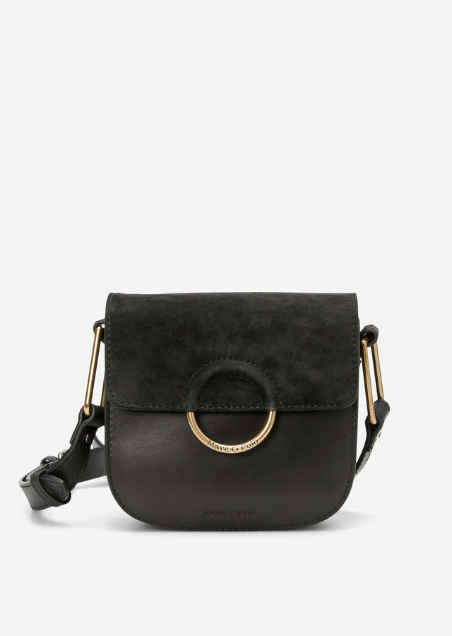 Leder Crossbody Bag black