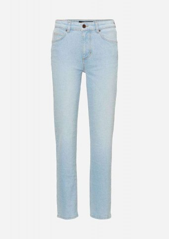 High Waist Cropped-Jeans LINDE STRAIGHT light blue shade denim